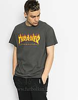 Футболка серая Thrasher Magazine принт реплика бирки