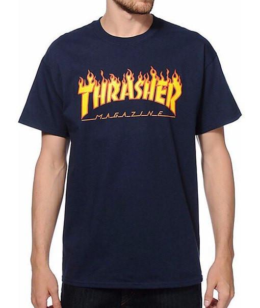 Thrasher футболка синяя принт реплика