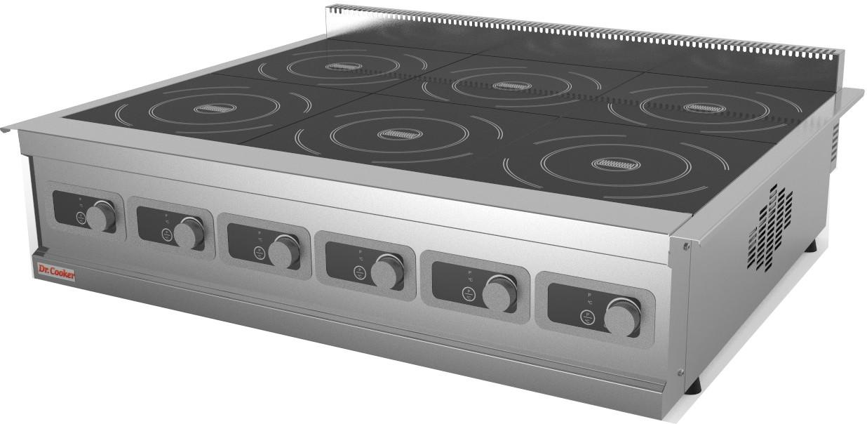 Індукційна плита настільна 6 конфорочна професійна(малі 2,8 кВт) 1116х735х165