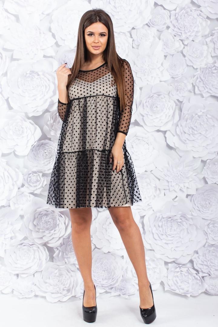 """Нарядное комбинированное платье-двойка """"Mary"""" сеткой в горошек"""