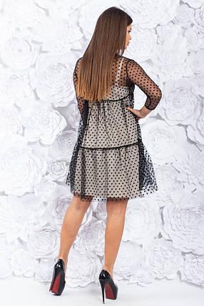 """Нарядное комбинированное платье-двойка """"Mary"""" сеткой в горошек, фото 2"""