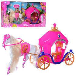 Карета 689-7 (18шт) с лошадью 40см, свет, на бат-ке, в кор-ке, 52-28-12см