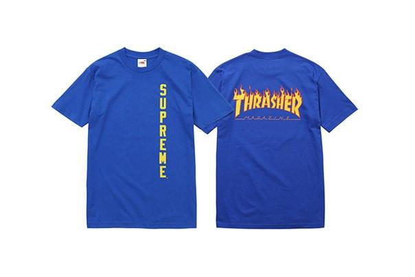 Футболка синяя Thrasher Supreme принт бирки реплика, фото 1