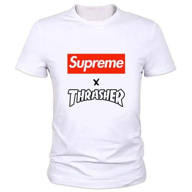 Футболка Suprem THRASHER принт белая реплика