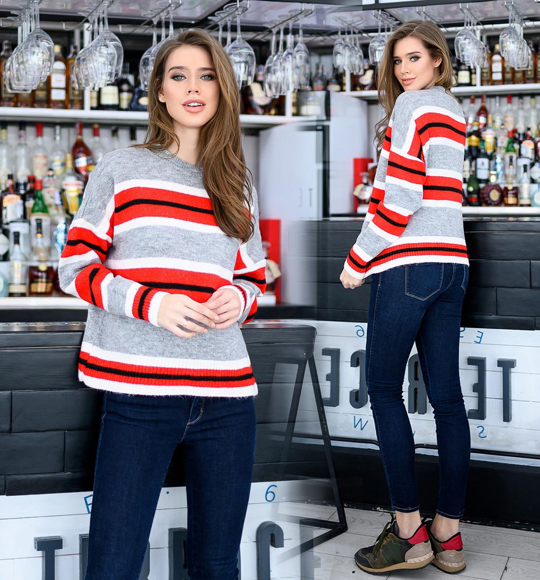 """Женский свободный свитерок до больших размеров 18-107 """"Вязка Полосы"""""""