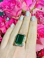 Серебряное кольцо с зеленым камнем Алпанит