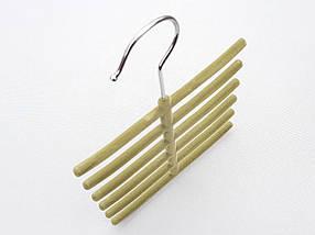 Плечики вешалки тремпеля ежик флокированный оливкового цвета, фото 3