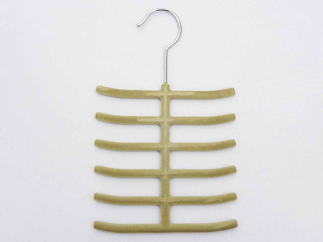 Плечики вешалки тремпеля ежик флокированный оливкового цвета