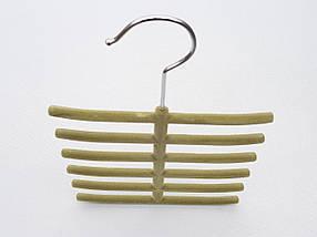Плечики вешалки тремпеля ежик флокированный оливкового цвета, фото 2