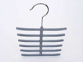 Плечики вешалки тремпеля ежик флокированный серого цвета, фото 2