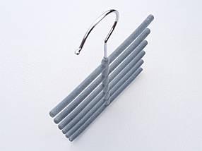 Плечики вешалки тремпеля ежик флокированный серого цвета, фото 3