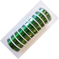Проволока (дріт) для бісероплетіння та флористики 0,3 мм, 10 катушок по 23 м. Зелена, фото 1