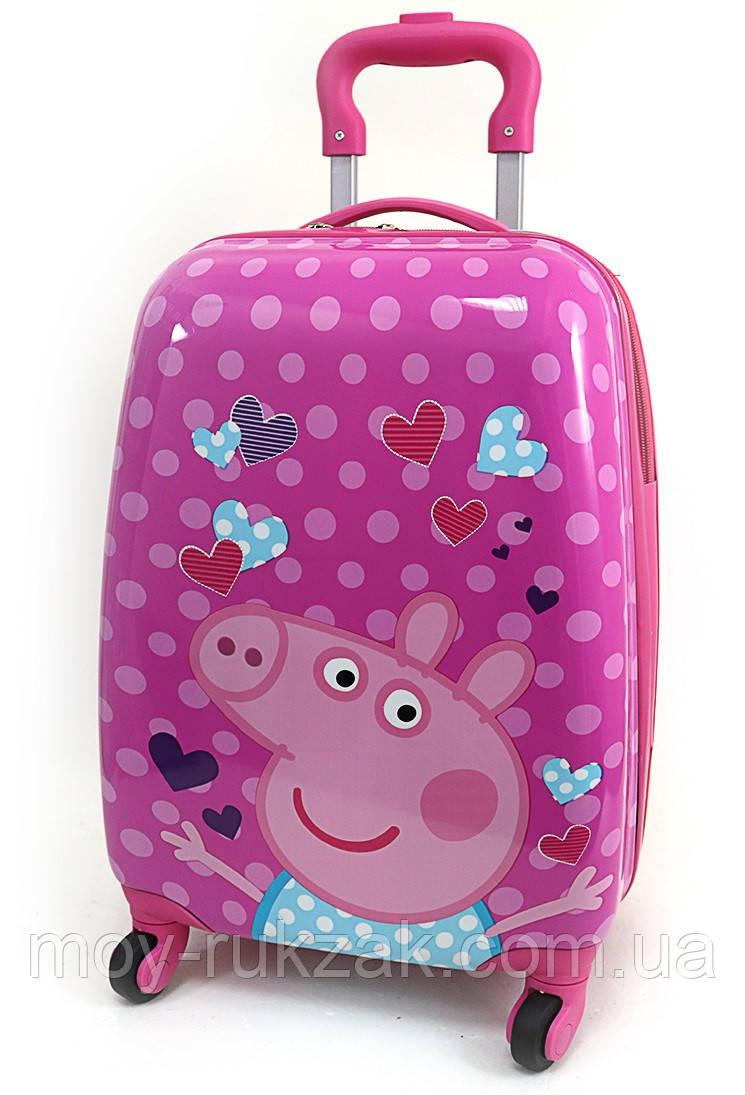 """Детский чемодан дорожный на колесах 16"""" «Свинка Пеппа - 4», 520431"""