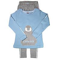 """Трикотажный костюм """"Пингвин"""" р. M, L, XXL пижама подростковая, женская  ТМ Ushuaia USRH003-blue, фото 1"""