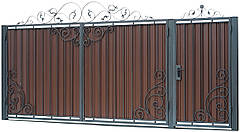 Кованые ворота и калитка  В-07