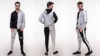 Стильный мужской молодежный весенний спортивный костюм: штаны и кофта на змейке с капюшоном