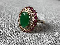 Серебряное кольцо с зеленым камнем Алпанит и розовыми камнями Шпинель