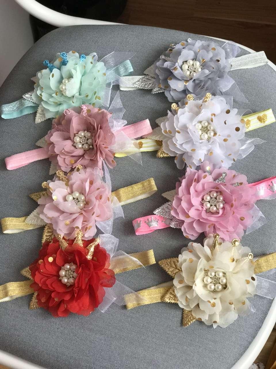 Повязка ручной работы с цветком и короной все цвета