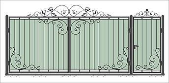 Кованые ворота и калитка  В-08, фото 2