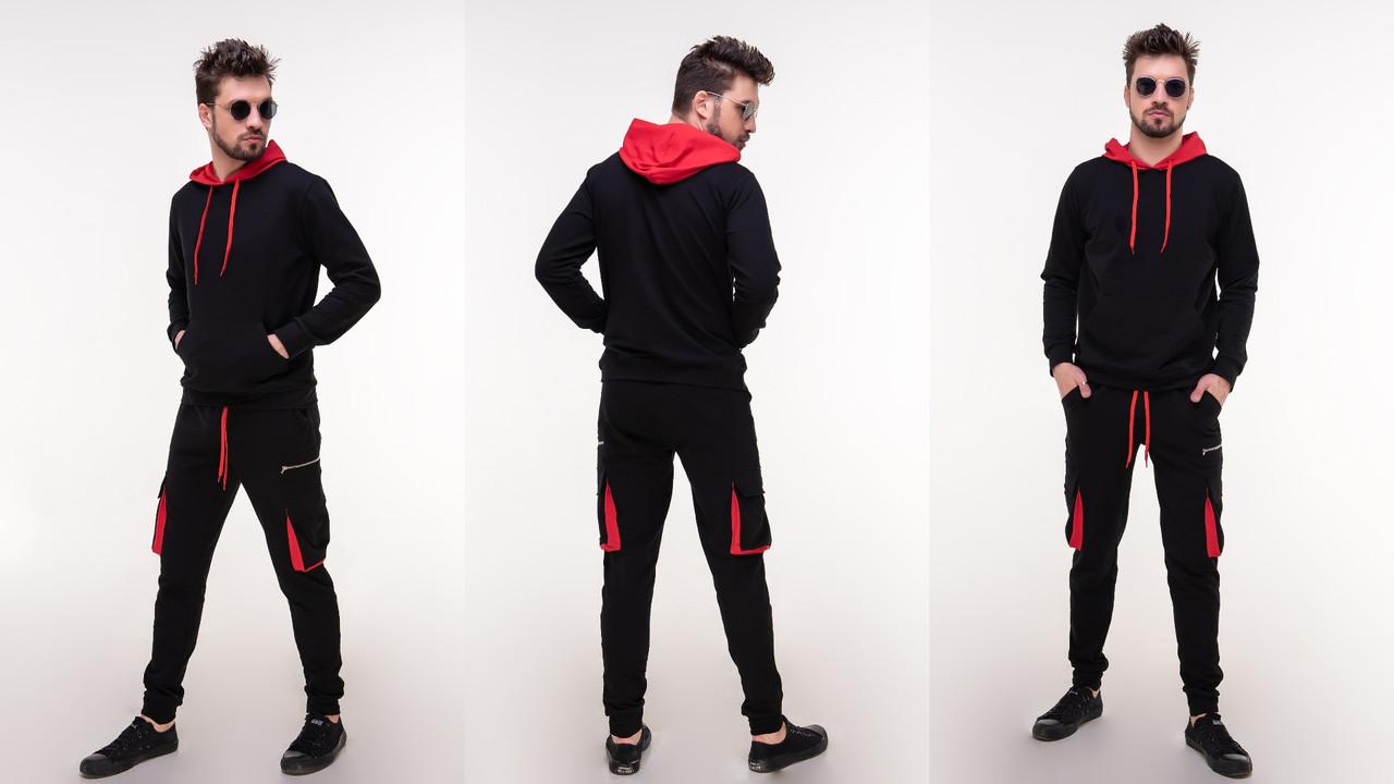 Стильный мужской молодежный весенний спортивный костюм: штаны с карманами сбоку и кофта с капюшоном