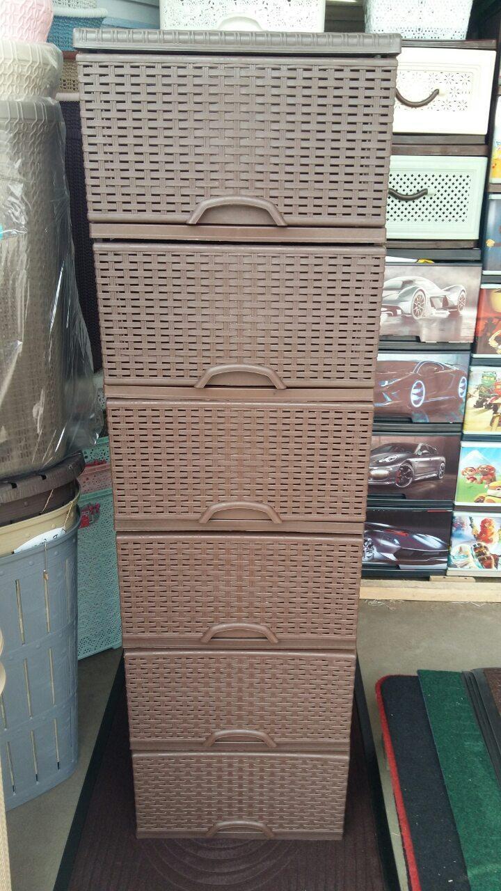 Комод пластиковый элиф ротанг коричневая на 6 ящиков