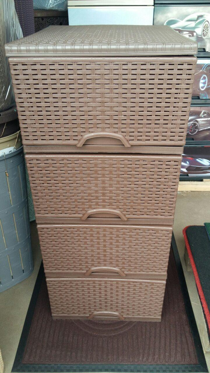 Комод пластиковый ротанг коричневый элиф 4 секции