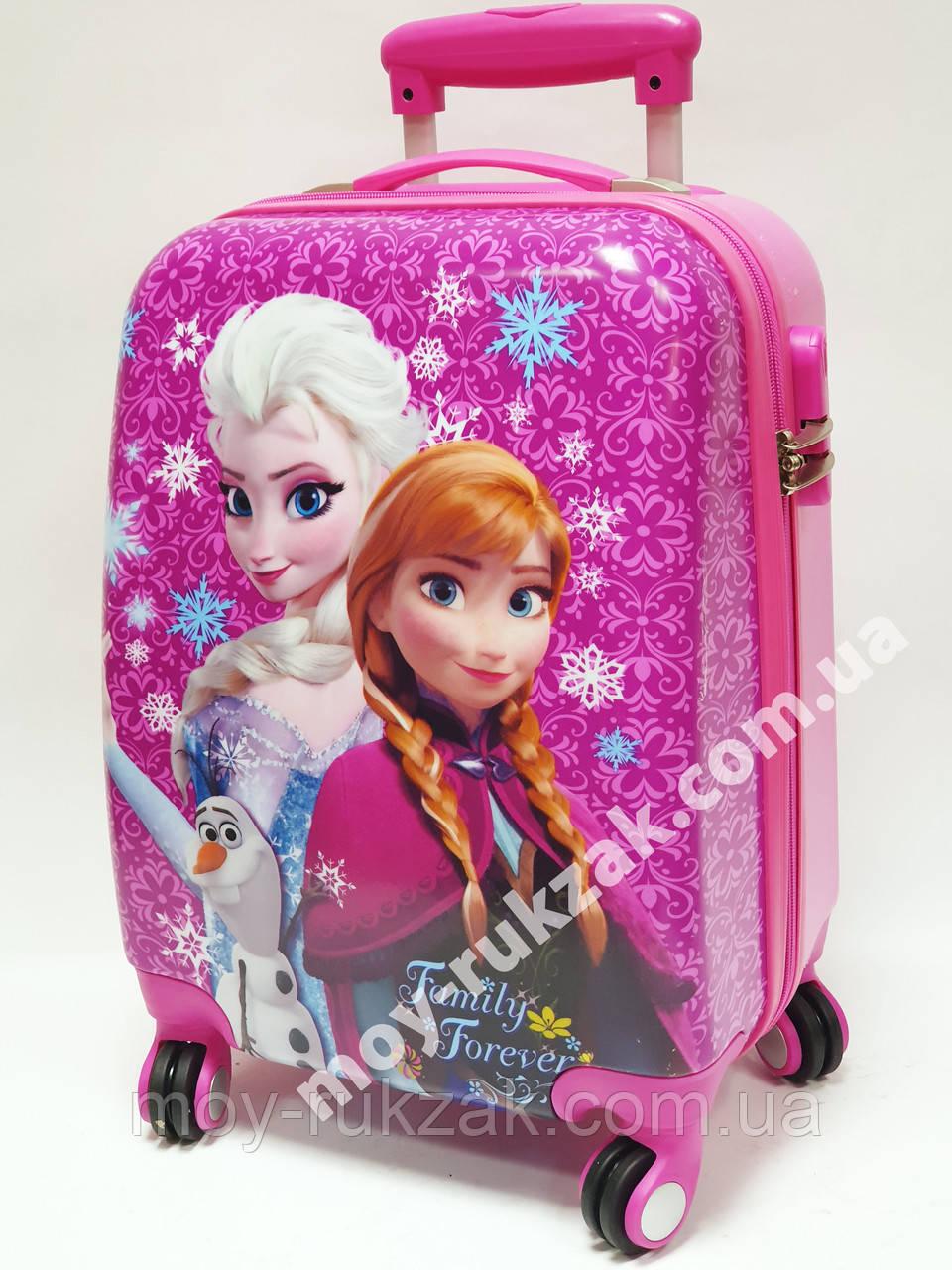 """Детский чемодан дорожный на колесах 18"""" «Анна и Эльза» Frozen-15, кодовый замок, 520436"""