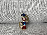 Серебряное кольцо с Синим и Красным камнем Алпанит