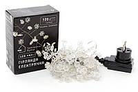 """Гирлянда-кластер 120 мини-LED: 1 линия 1,5 метра, с декором на лампочку """"Снежинка"""", цвет - тёплый белый, постоянное свечение BonaDi 830-332"""