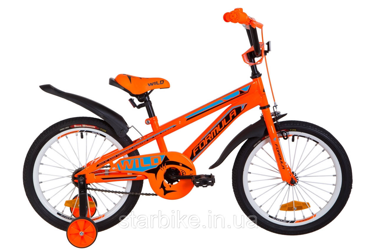 """Велосипед 18"""" Formula WILD усилен. St с крылом Pl 2019 (оранжево-синий)"""