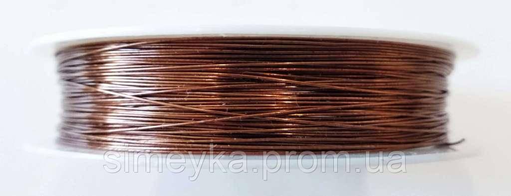 Проволока (дріт) для бісероплетіння та флористики 0,3 мм, катушка 23 м. Коричнева шоколадна