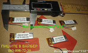 Акумулятор для блютуз гарнітур 36.12* 11.88* 3.57 Li-Po 3.7 V 200 mAh