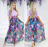 Длинное летнее платье с шифоном. Лаванда, 3 цвета.
