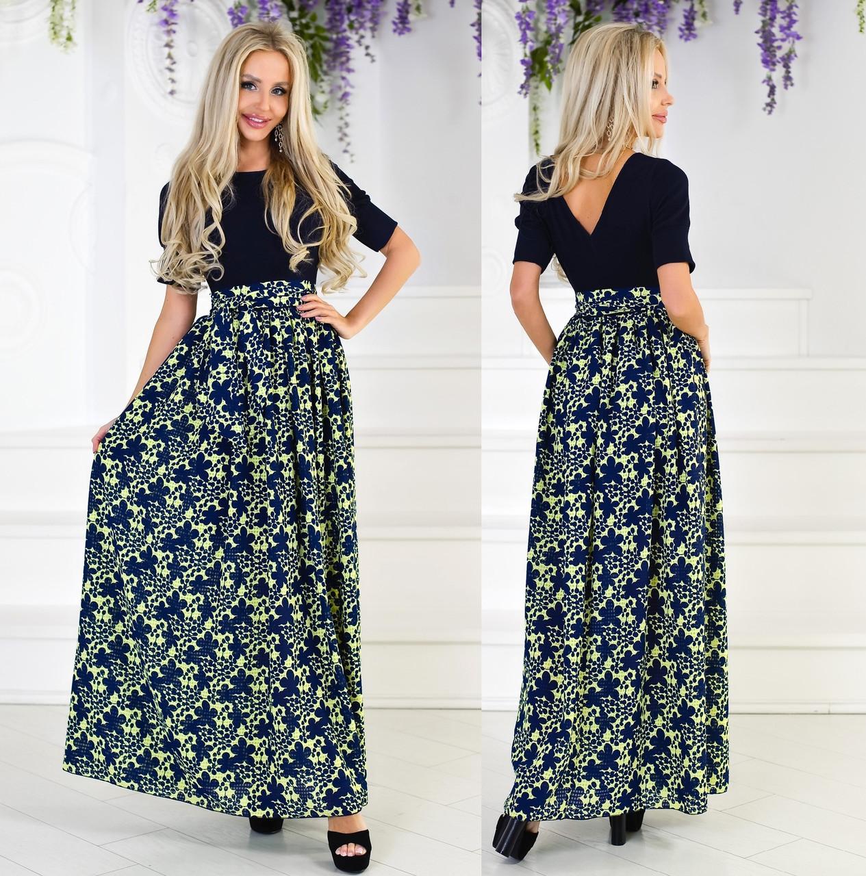 a4af0d6f5cd7272 Длинное летнее платье с шифоном. Т.синее, 3 цвета., цена 471,09 грн ...