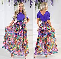 Длинное летнее платье с шифоном. Фиолетовое, 3 цвета.