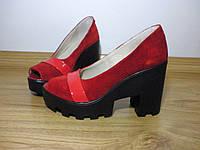 Женские туфли с открытым носком натуральная замша+лак S7145