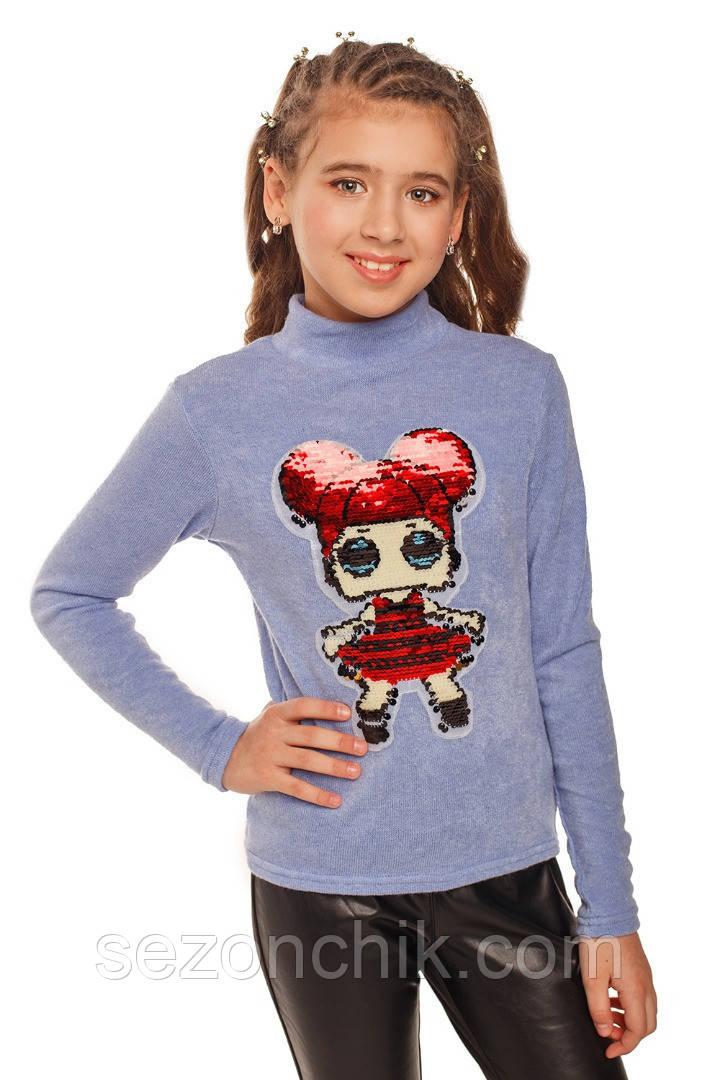 Модный гольф на девочку свитер с принтом
