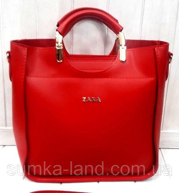 4d121b893a73 Женская красная сумка Zara из эко-кожи 26*26 см, цена 376 грн ...