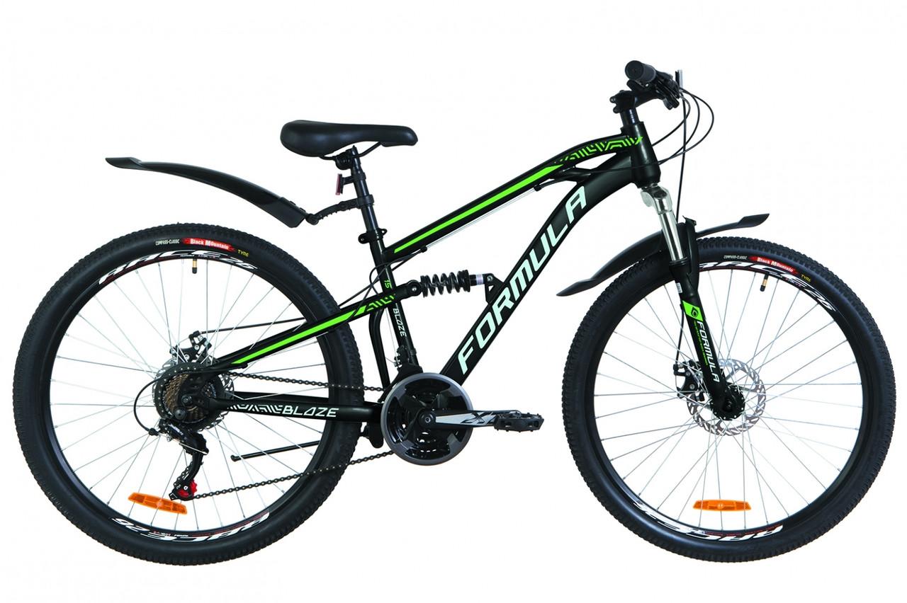 """Горный велосипед 26"""" Formula BLAZE AM2 14G DD St с крылом Pl 2019 (черно-салатный)"""