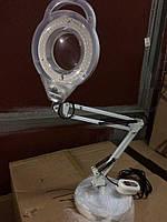 Лампа лупа светодиодная на струбице настольная