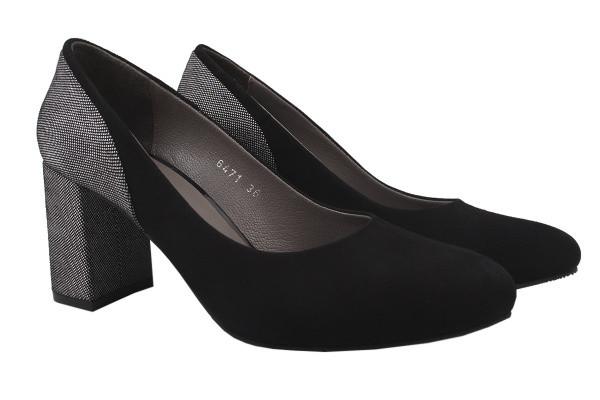 Туфли женские на каблуке Romanelli натуральная замша, цвет черный, Турция.