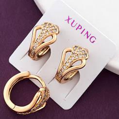 """Серьги кольца Xuping Jewelry """"Джулия"""" медицинское золото, позолота 18К. А/В 2831"""