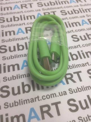 Usb кабель стандарт 100 см для Samsung, Lenovo, HTC, и т. д. (салатовый), фото 2