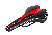 """Седло с отверстием Сr-mo """" 273*156 чёрно-белый K.San YBT-K040 c logo LEON (черно-красный)"""