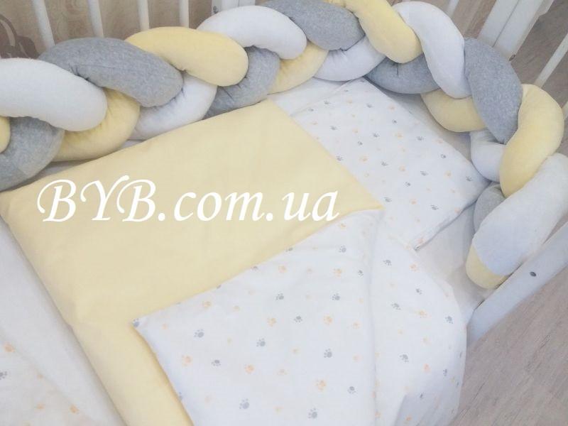"""Набор постельного белья с бортиком косой """"Жёлто-серая косичка-бортик"""" 3 плетения"""