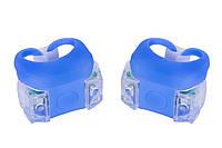 Мигалка 2шт BC-RL8002 белый+красный свет LED силиконовый (синий корпус)