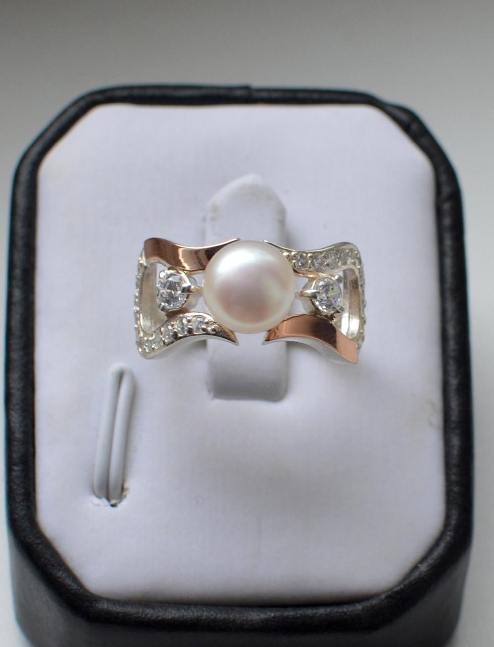 Кольцо серебряное с жемчугом и золотыми пластинами