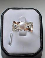 Кольцо серебряное с жемчугом и золотыми пластинами, фото 1