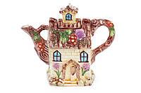 Чайник керамический рельефный 1.2л в форме домика BonaDi 590-173