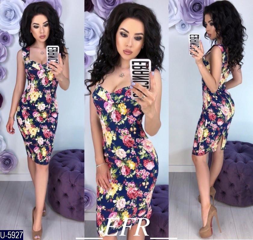 Платье женское приталенное, цветочный принт. Размеры S-M, L-XL. Ткань стрейч коттон